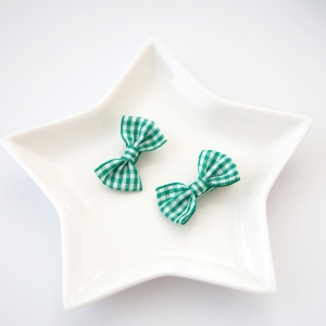 Girl Hair Clip Bow Plaid Pair (GHP8491)